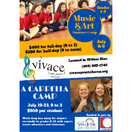 Vivace Youth Chorus of San Jose Choral Music Camps: Music & Art Camp and A Cappella Camp