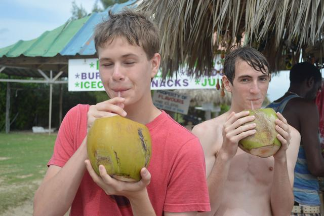 Try drinking coconut water straight from a coconut!